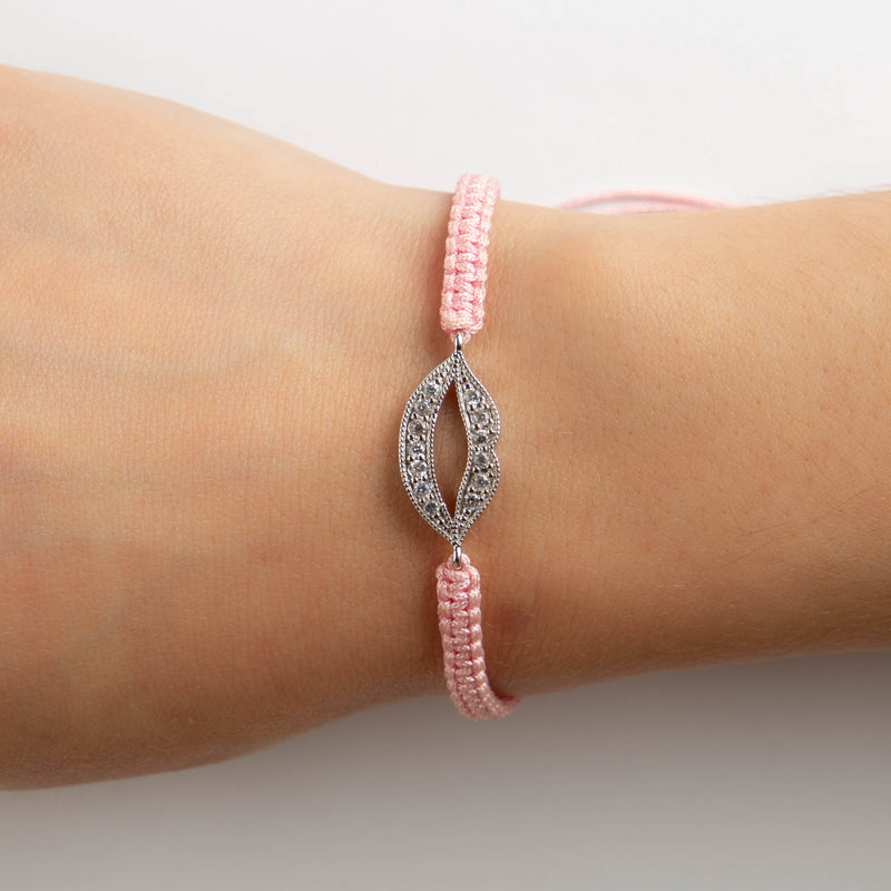 925 SILVER KISS BRACELET WITH PINK SILK THREADS