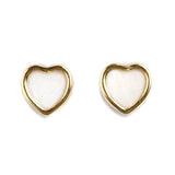 14K GOLD BABY EARRINGS WITH HEART OF MOTHER OF PEARL