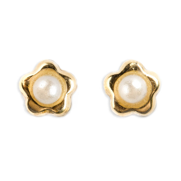 14K GOLD BABY EARRINGS FLOWER SHAPED WITH PEARL