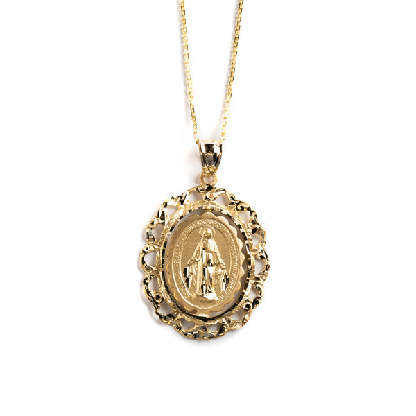 14 GOLD MEDALL WITH MIRACULOUS VIRGIN AND FILIGREE FENCE