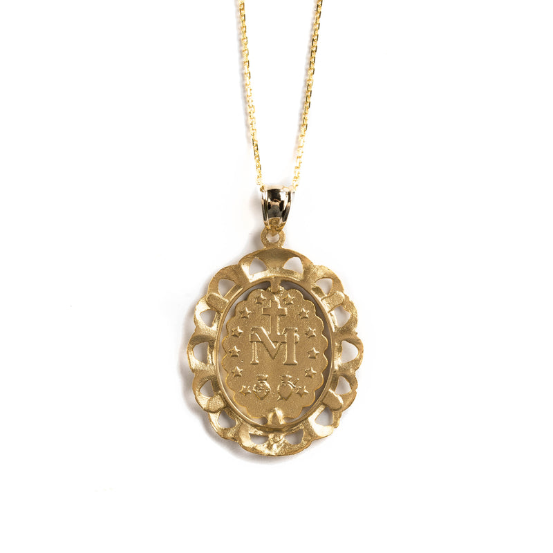 14K GOLD MEDAL WITH MIRACULOUS VIRGIN AND FILIGREE FENCE