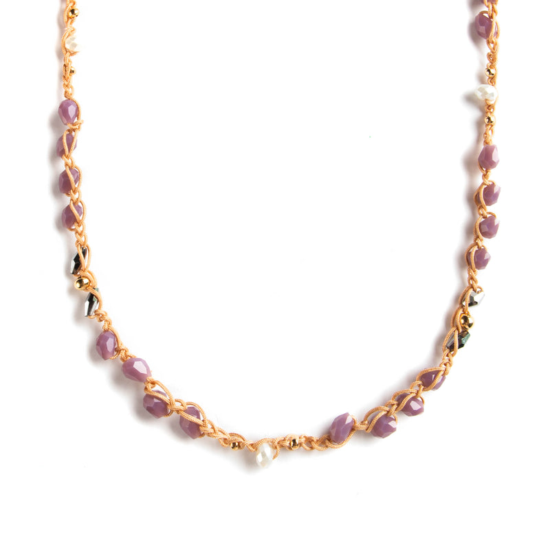 HO NECKLACE WITH GOLDEN THREADS WITH PURPLE BEATS