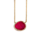 14K GOLD NECKLACE RUBY AND DIAMONDS
