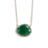 14K WHITE GOLD NECKLACE WITH EMERALD AND DIAMONDS CHARM