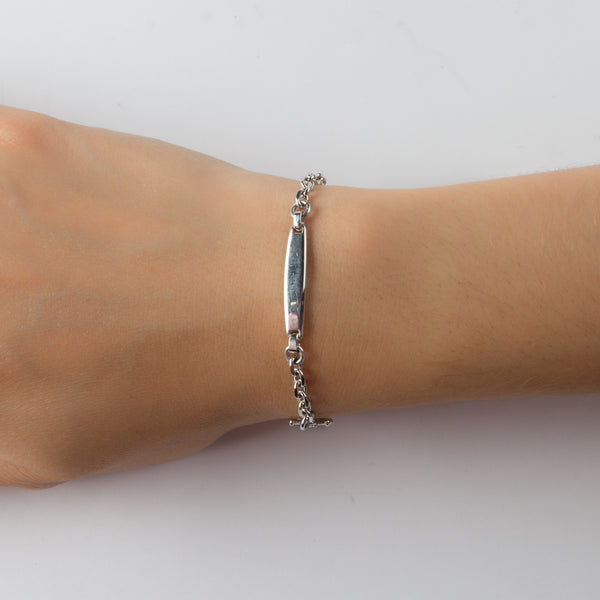 925 SILVER BRACELET WITH A BAR AND ANCHOR CHARM