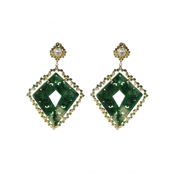 925 GOLD PLATEAD EARRINGS WITH JADE AND CRYSTALS