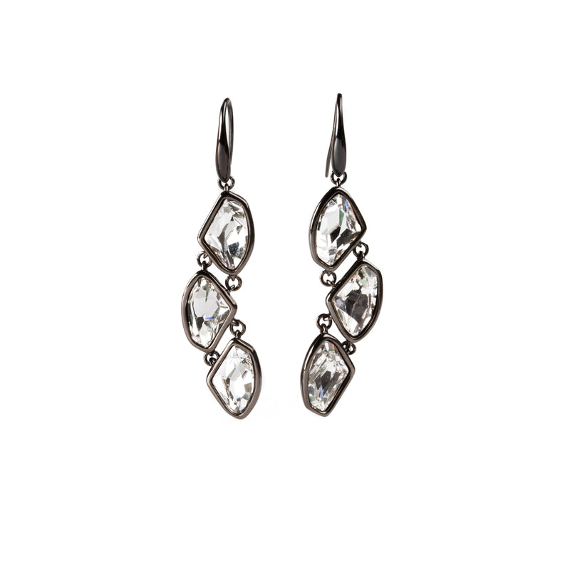 EARRINGS WITH BLACK RHODIUM AND SWAROSKI CRYSTALS