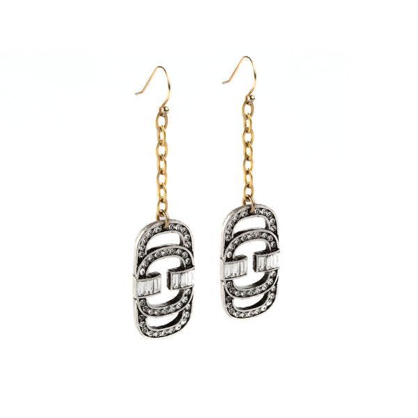 SILVERED AND GOLDEN EARRINGS WITH SWAROVSKI CRYSTALS