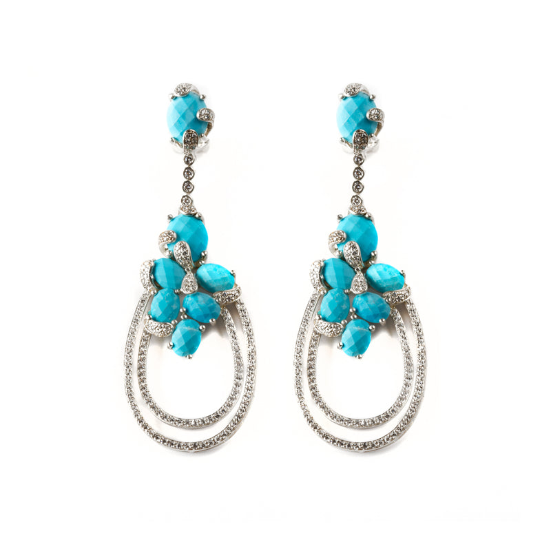 925 SILVER EARRINGS WITH TURQUOISE AND CRYSTALS