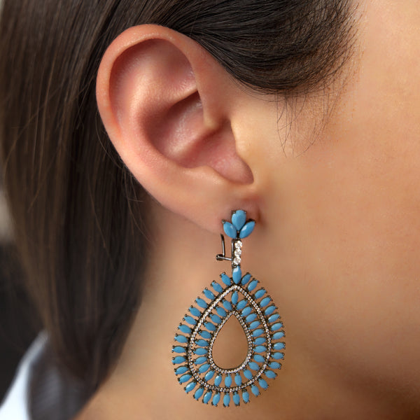 925 SILVER EARRINGS WITH BLACK RHODIUM AND WHITE AND TURQUOISE CRYSTALS