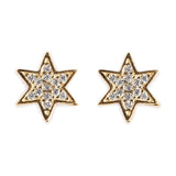 925 SILVER GOLD PLATED EARRINGS WITH STARS