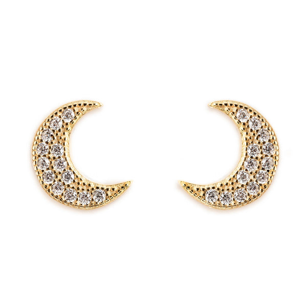 925 SILVER GOLD PLATED EARRINGS WITH MOON