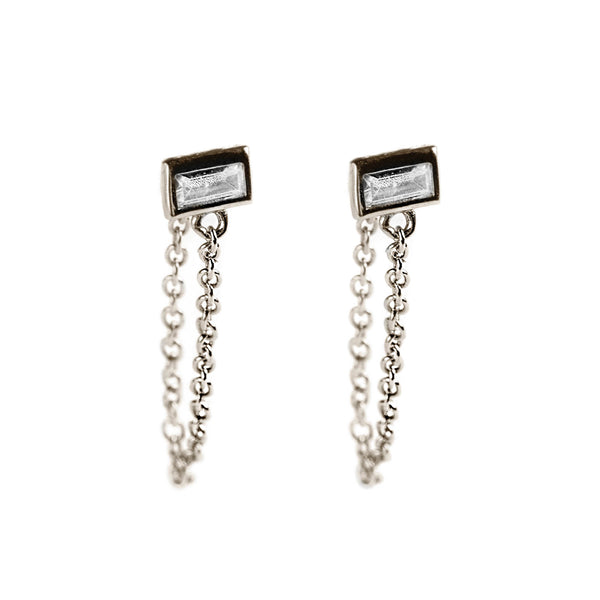 925 SILVER STUDS WITH CHAIN AND BAGUETTE CRYSTAL