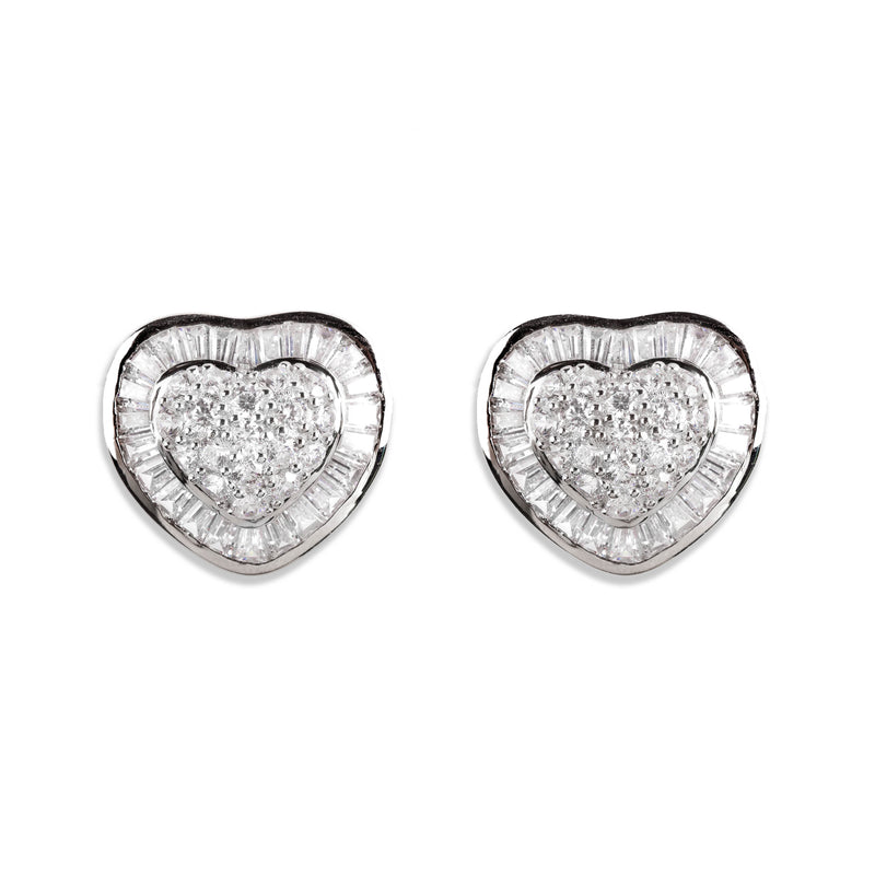 925 SILVER HEART STUDS WITH CRYSTALS