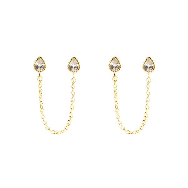 925 SILVER GOLD PLATED EARRING WITH CHAIN AND CRYSTALS
