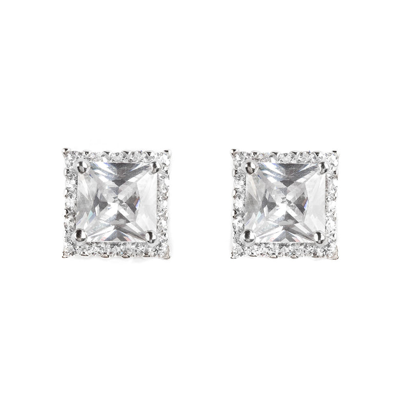 925 SILVER SQUARE STUDS WITH CRYSTALS