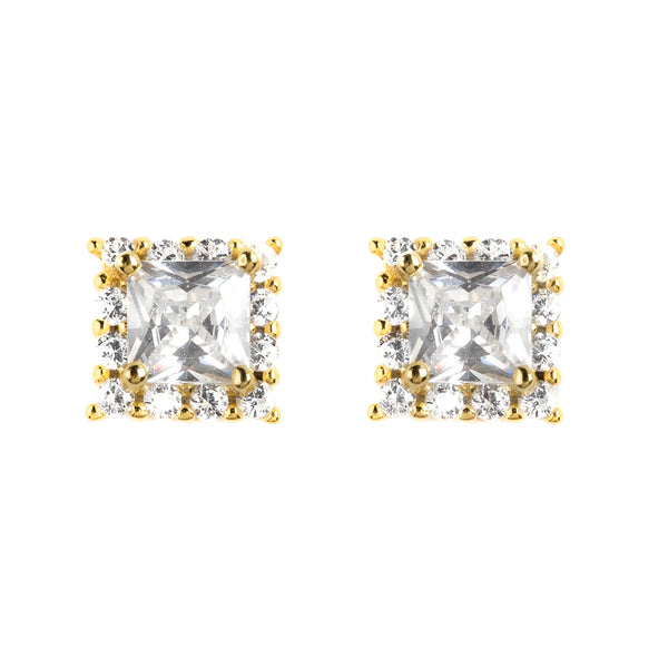 925 SILVER GOLD PLATED EARRING WITH CRYSTALS