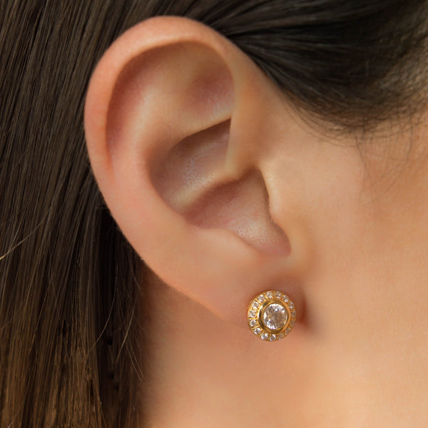 925 SILVER ROUND GOLD PLATED STUDS