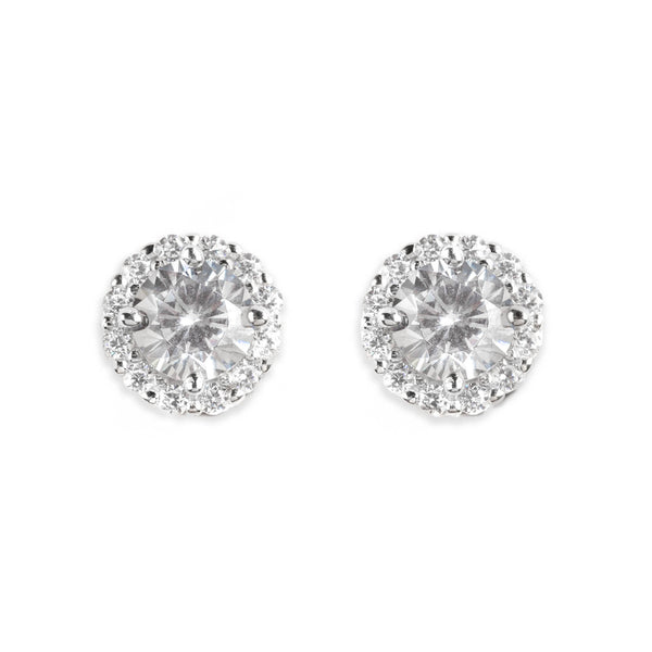 925 SILVER ROUND STUDS WITH CRYSTALS