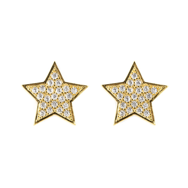 925 SILVER GOLD PLATED STARS EARRING WITH CRYSTALS