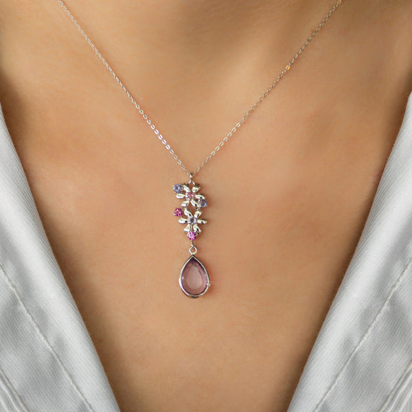 925 SILVER FLOWER NECKLACE WITH AMETHYST AND IOLITE