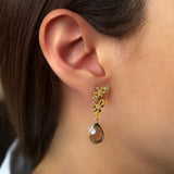 925 SILVER GOLD PLATED FLOWER DROP EARRINGS WITH CITRINE AND PERIDOT