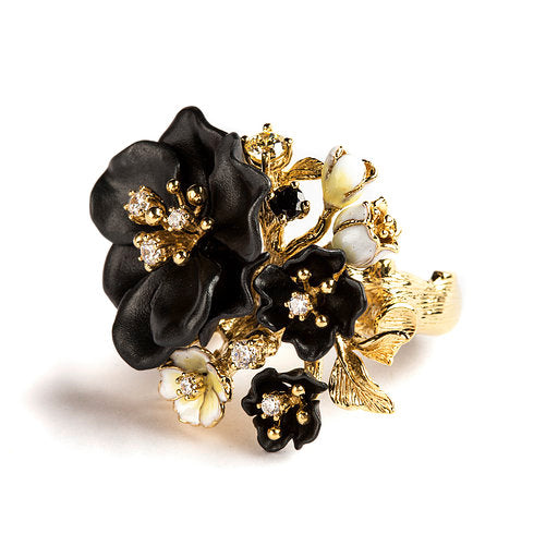 925 SILVER GOLD PLATED RING WITH BLACK AND WHITE FLOWERS AND WHITE AND YELLOW CRISTALS