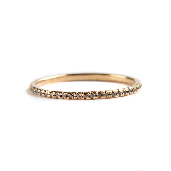 14K YELLOW GOLD RING WITH BLACK DIAMONDS SEMI INFINITY