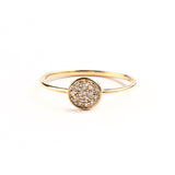 14K YELLOW GOLD ROUND PAVE RING WITH DIAMONDS