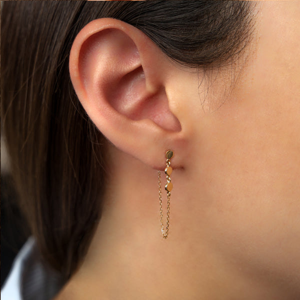 14K GOLD EARRINGS WITH CHAIN AND CIRCLES
