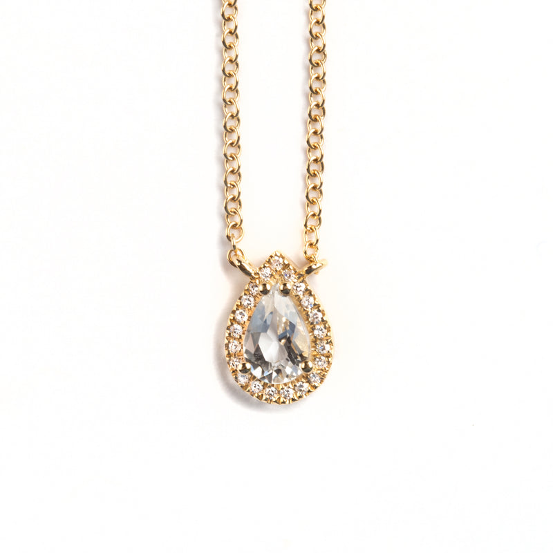 14K GOLD NECKLACE WITH DIAMONDS AND TOPAZ