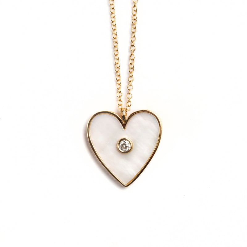 14K GOLD HEART NECKLACE WITH MOTHER OF PEARL AND DIAMOND