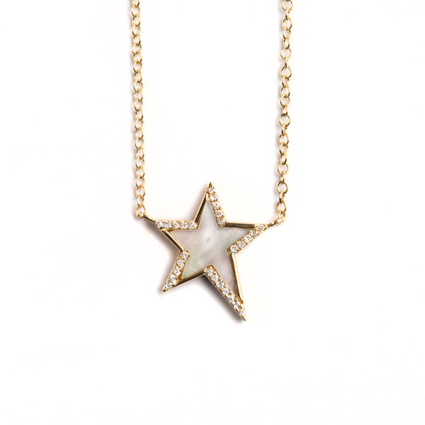 14K GOLD STAR NECKLACE WITH MOTHER OF PEARL AND DIAMONDS