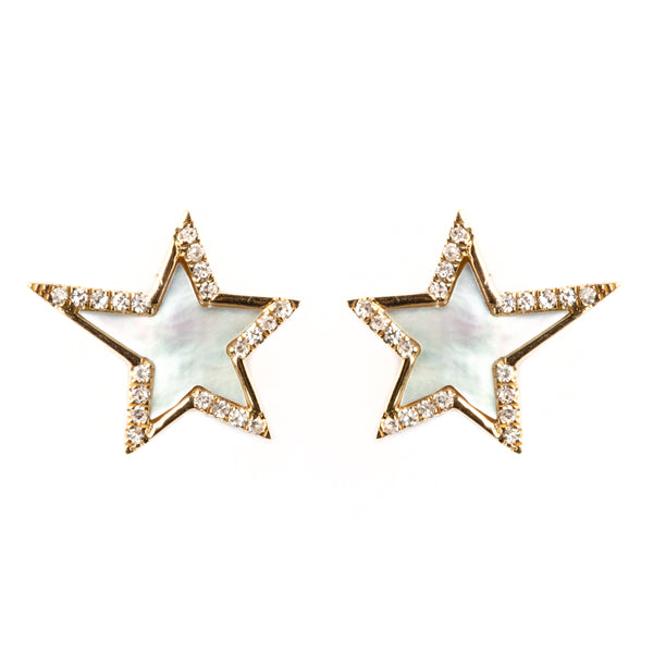 14K GOLD STAR EARRINGS WITH MOTHER OF PEARL AND DIAMONDS