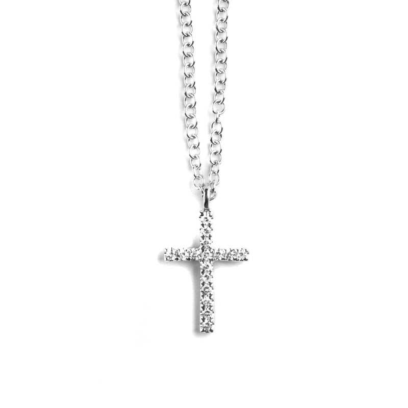 14K WHITE GOLD CROSS NECKLACE WITH DIAMONDS