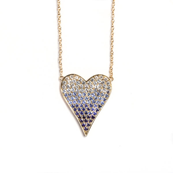 14K GOLD OMBRE HEART NECKLACE WITH BLUE SAPPHRIE AND DIAMONDS