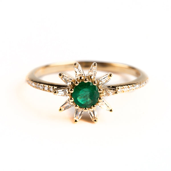 14K GOLD FLOWER RING WITH EMMERALD AND BAGUETTE DIAMOND HALO