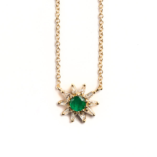 14K GOLD FLOWER NECKLACE WITH EMMERALD AND BAGUETTE DIAMONDS HALO