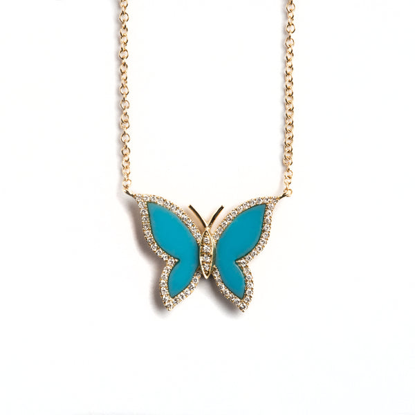 14K GOLD BUTTERFLY NECKLACE WITH TURQUOISE AND DIAMONDS