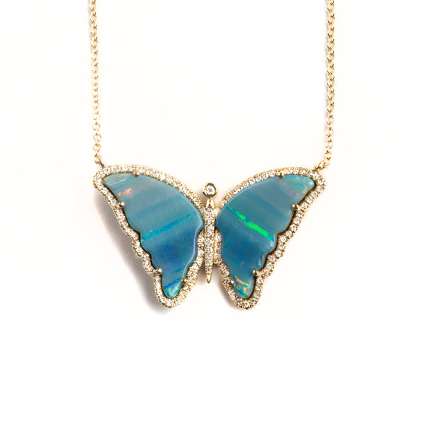 14K GOLD BUTTERFLY NECKLACE WITH OPAL AND DIAMONDS