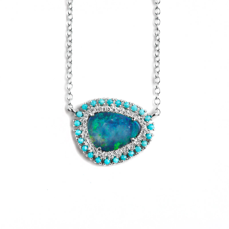 14K WHITE GOLD NECKLACE WITH OPAL AND DIAMONDS WITH TURQUOISE HALO