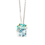 925 SILVER PENDANT WITH FLOWER, BLUE TOPAZ AND CRYSTALS