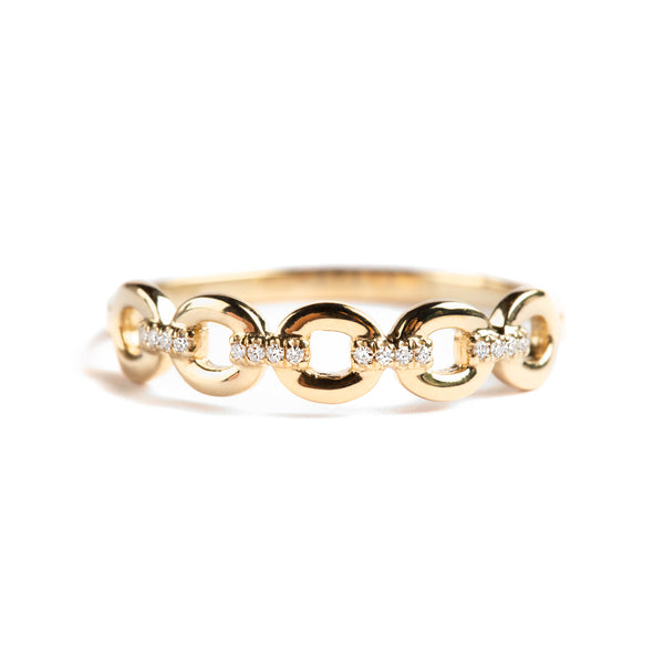 14K GOLD RING WITH LINKS AND DIAMONDS