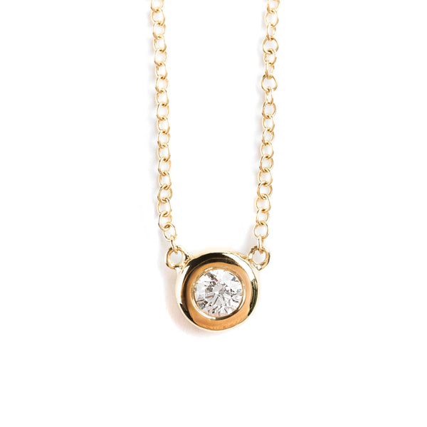 14K GOLD NECKLACE WITH  DIAMOND SOLITAIRE