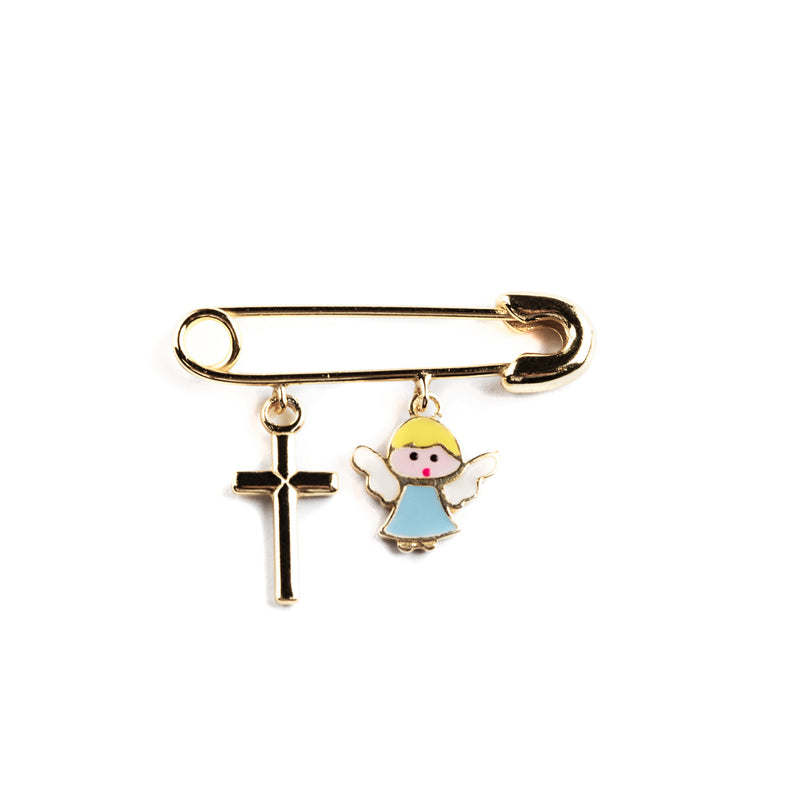 925 GOLD PLATED PIN WITH CROSS AND ANGEL CHARM