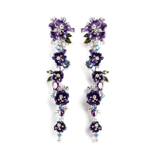 925 SILVER FLOWER EARRING WITH SKY BLUE TOPAZ PURPLE CZ WHITE CZ