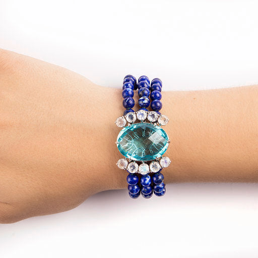 14K WHITE GOLD BRACELET WITH BLUE TOPAZ, LAPIS LAZULI AND MOONSTONE