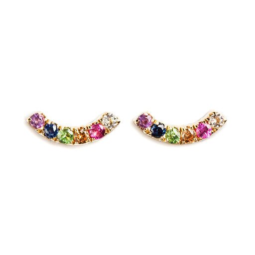14K GOLD EARRINGS WITH DIAMOND, RUBI, AMETHYST AND COLORED SAPPHIRES