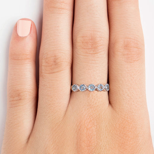925 SILVER SEMI INFINITY RING WITH BLUE TOPAZ