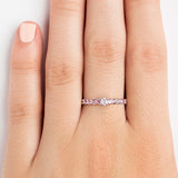 14K WHITE GOLD INFINITY RING WITH DIAMOND AND STONES